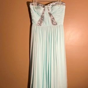 NWT Rebecca Taylor mint silk sequin strapless gown